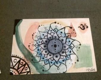 Hand painted A3 canvas Mandala, sacred geometry