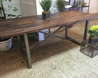 Good Rustic Solid Walnut Dining Table