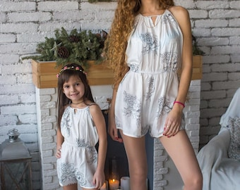 Matching Rompers - White Halter Baby Mommy Matching rompers, Mom & Me rompers, Floral pattern, Twinning, Mommy baby, Mini me