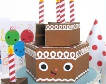 Happy Birthday Chocolate Cake Party Playset Printable Paper Craft PDF