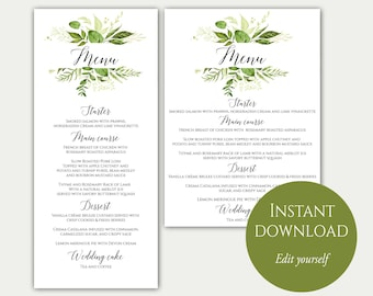 Wedding Menu Template, 5x7, 4x9, Wedding Menu Cards, Menu Cards, Editable Menu, PDF Template, Greenery Menu, Party Menu, Printable Menu, C8