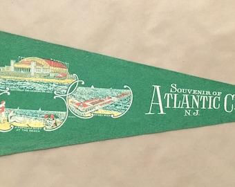 Vintage 'Souvenir Of Atlantic City NJ, Convention Hall, Beach, Pier' NJ Mini Pennant