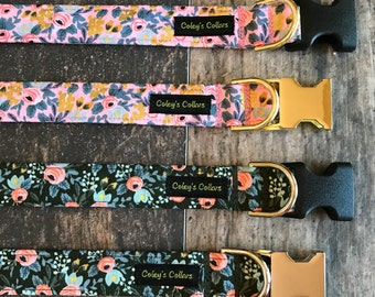 """Rifle Paper Co Dog Collar, Floral Dog Collar, Girl Dog Collar, Boy Dog Collar, Vintage Inspired,  """"The Rosa in Pink or Forest"""""""