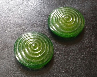 """Cabochon 1-1/3"""" Bright Green Yellow Chartreuse Fused Glass Spiral Tiles"""