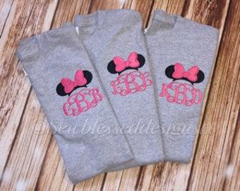 Monogram,Monogrammed,Personalized Gift,Bridesmaid Gifts,Minnie,Classic Minnie Ears,Monogram Shirt,Personalized,Minnie Monogram,mouse ears