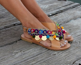 "Leather sandals. Greek sandals, x-strap flat sandals, Luxury sandals, ""Anatoli"""