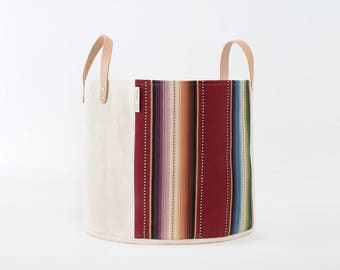 Medium Natural Canvas Bucket Basket: Maroon Stripe