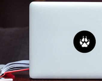 Wolf Paw Print Decal sticker / Animal Paw Print Art / Nature Animal Paw black circle light cover Apple MacBook Laptop iPad Decal sticker