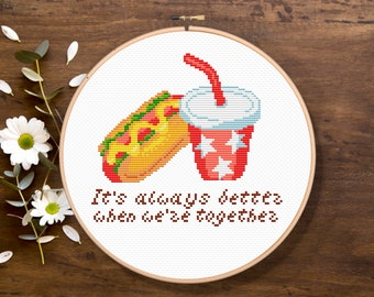 Hot Dog and Cola, It's always better when we're together, Kitchen Cross Stitch, Modern Cross Stitch Pattern, Download PDF #fd024