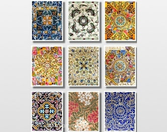 Print Set, Wall art prints, Set of 9 prints, Spanish tiles, best gifts for her, Gaudi, Gallery wall prints, Fine Art photography