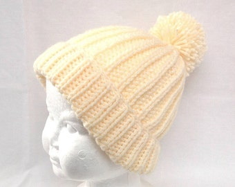 Toddler Pom Pom hat - Kids yellow knit beanie - Kids accessories - Pom Pom beanie - Toddler light yellow hat