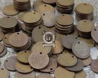10 Piece Wheat Penny Pendant, Earring, or Bracelet Parts Assortment - Genuine Coins With Holes - Make Your Own Currency Jewelry
