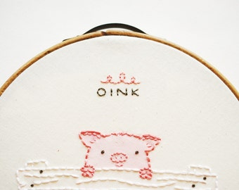 OINK - Piggy Mini Embroidery Pattern