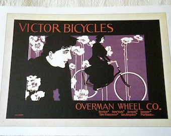 Vintage Bicycle Poster 1896 Victor Bicycles Poster Size Book Plate