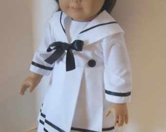 """American Girl 18"""" doll  clothes - White Sailor Dress with Black Trim and Matching Beret"""