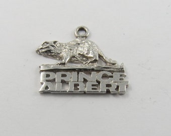 Prince Albert B C Canada with Beaver Above Sterling Silver Charm or Pendant.
