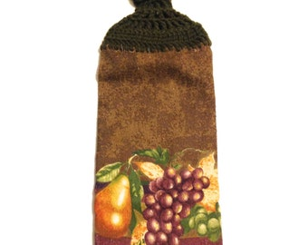 Fruit Hand Towel With Forest Floor Green Crocheted Top- Brown