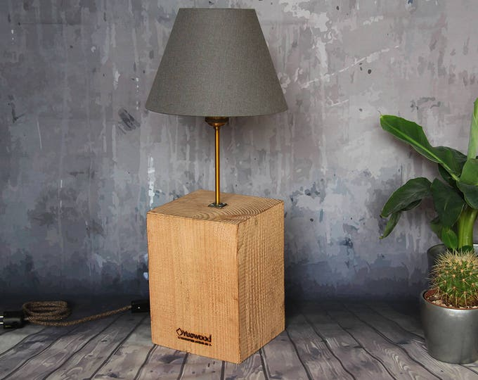 """Featured listing image: Wooden room lamp, wood desk lamp, """"Cube Maxi"""", handmade, industrial night lamp"""