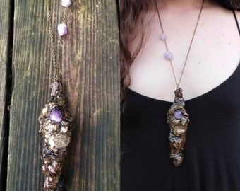 Amethyst Oak Bark Pendant, Amethyst Talisman Pendant, Topography, Wooden Pendant, Nature Pendant, Gemstone, February Birthstone, Witchy,