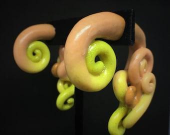 Yellow Peach Abstract Swirl Fake Plug Gauges