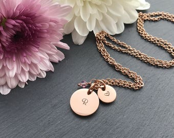 Rose Gold Initial Necklace - Rose Gold Necklace - Custom Necklace - Mothers Day Gift - Gift for Mum - Personalised Necklace