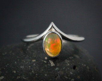 Colorful Natural Solid Opal Ring, October Opal Birthstone Ring, Point Ring