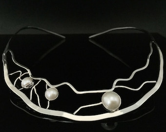 Pearl Choker Necklace // 925 Sterling Silver // Lightly Hammered Abstract Setting // South Sea Pearls