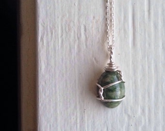 Oval Jade Necklace Wirewrapped Healing Jewelry -  Sterling Silver, 18 inch Chain - Ecofriendly, Sustainable, Fair Trade, Woman's