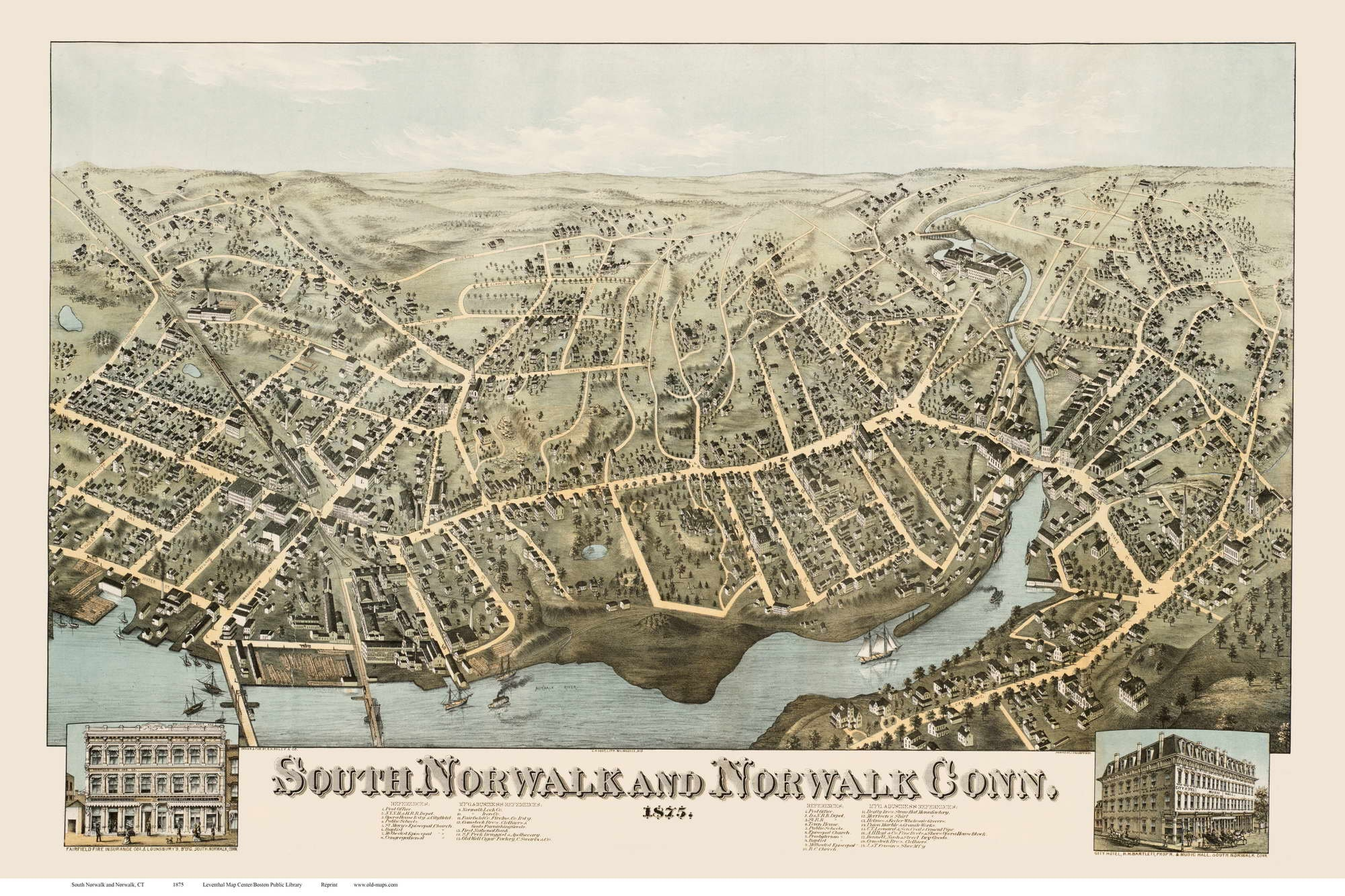 South Norwalk and Norwalk Connecticut 1875 Birds Eye View CT
