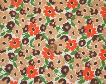 1930s full unopened feed sack flour sack orange brown green floral novelty fabric
