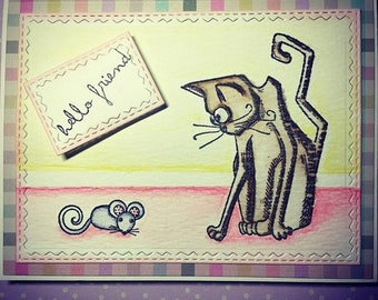 Hello Friend Crazy Cat Pop Up Card Tim Holtz 3D Mixed Media Handmade Card