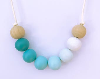 ombre blues painted wooden bead necklace