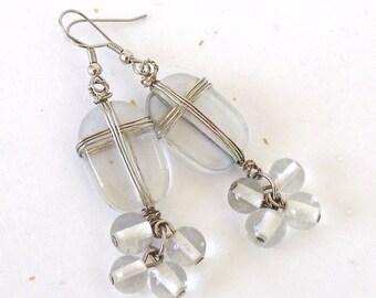 Vintage Beaded Earrings. Crystal Clear Glass Beads. Silver Tone Wire Wrap. Dangle/Drop Earrings. Boho. Handmade. Chunky. 1980's. Unique [3]
