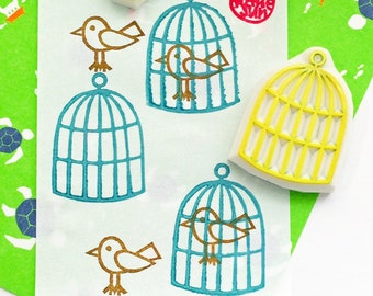 bird & birdcage rubber stamp set   animal stamp   baby shower birthday card making   gift wrapping   hand carved by talktothesun   set of 2