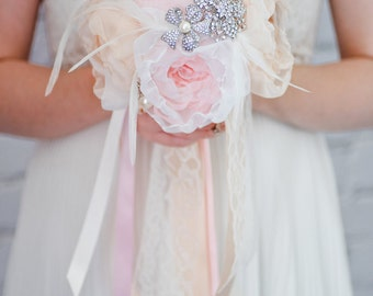 Custom Blush Peonies and Champagne Fabric Flower Bouquet, Silver Pearl Brooch Bouquet, Bridemaids Bouquet Alternative - 7 inch
