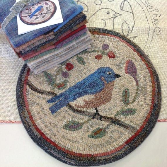 """Rug Hooking KIT, Bluebird Chair Pad or Table Mat 14"""" Round, K110, Folk Art Bluebird, Primitive Rug Hooking Bluebird"""