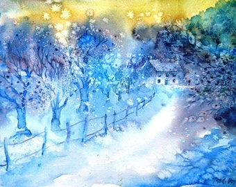 """Snow-scene """"Walking Home through the Snow  """" Watercolour painting ,Original art, Woodland home in Winter"""