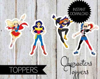 SuperHero Girls Birthday Party Printable Characters TOPPERS- Instant Download | DC comics | DC Super Hero Girls | Super Girls  | Cake Topper