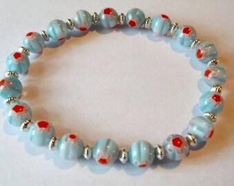 Blue and Orange Millefiori Silver Swirl Stretch Bracelet Glass Bracelet Millefiori Jewelry Millefiori Bracelet Blue Braclet Elastic Bracelet