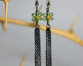 Flower Dangle Earrings Long Chain Earrings Gift for Girlfriend Romantic Earrings Cute Earrings Black Chain Earring Flower Jewelry For Mom
