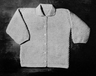 PATTERN 1940s Vintage Toddler / Childs Cardigan to Crochet Button Down Sweater to Crochet PDF Pattern Seed Stitch Moss Stitch