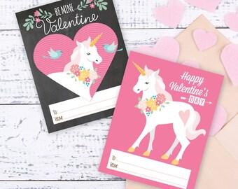 Unicorn Valentines Day Cards, printable DIY cards, classroom Valentine for kids, children, Valentine's Unicorn, Instant Download