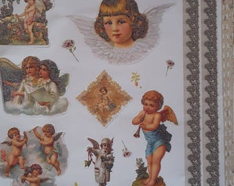 Vintage flower child Angel stickers