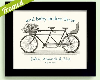 Unique Baby Shower Gift Baby Make Three Framed Wedding Gift for Couples