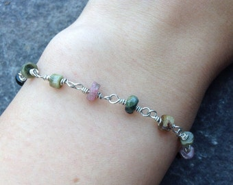 Watermelon tourmaline wire wrapped silver bracelet free shipping