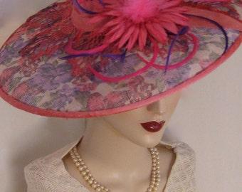 ON SALE/ Printed English Sinamay Dish Hat