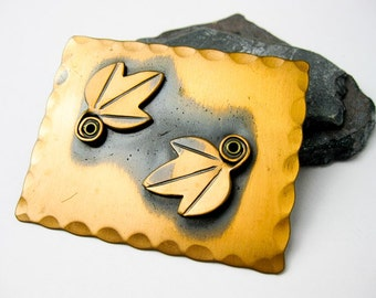 Signed Rebajes Large Copper Leaf Brooch Pin. Mid Century, NYC, USA.