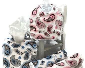 Baby Burp Cloths, Baby Bibs, Diaper changing pad, paisley minky, baby accessories, Minky Burp rags, Minky Bib, baby gift, baby shower gift