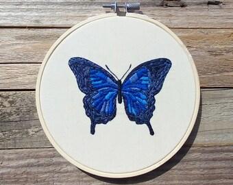 Dark Blue Butterfly Embroidery Wall Art