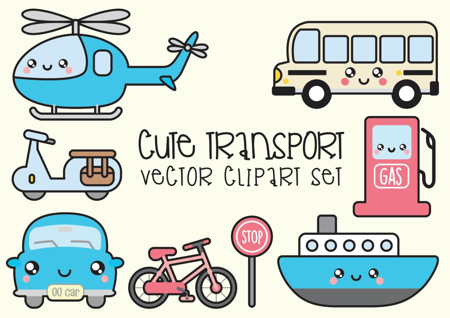 Top Premium Vector Clipart - Kawaii Transport Clipart - Kawaii Clip  UT64